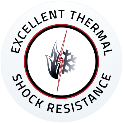 Outstanding thermal shock tolerance
